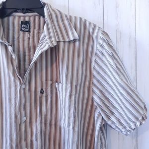 Volcom Shirts - VOLCOM Short Sleeve Striped Casual Button Up XL